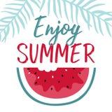 Minimale Sommerillustration mit Scheibenwassermelone und -beschriftung stock abbildung