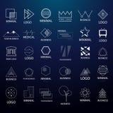 Minimale uitstekende emblemen en kentekens grote inzameling lijnstijl Moderne minimalism syled vector voor veelvoudig gebruik Stock Afbeeldingen