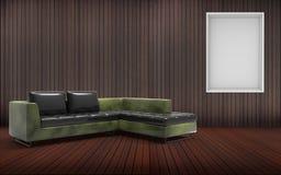 Minimale woonkamer en Sofa Desing And Green Texture Royalty-vrije Stock Afbeeldingen