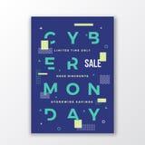 Minimale Zwitserse de Stijlaffiche van de Cybermaandag Moderne Met de hand gemaakte Typografie Meetkunde Decoratieve Elementen en stock illustratie