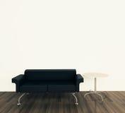 Minimaler Innenraum mit einzelner Couch Lizenzfreie Stockbilder