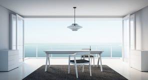 Minimales arbeiten-Speisen auf seaview Stockfoto