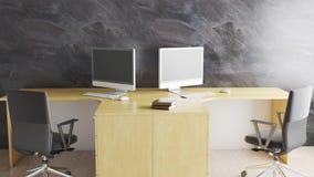 Minimales Büro mit zwei Arbeitsplatz- und dekstop3d Illustration lizenzfreie abbildung