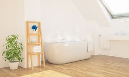 minimales Badezimmer auf Dachboden stockbild