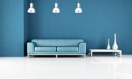 Minimales blaues Wohnzimmer lizenzfreie abbildung