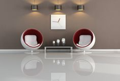 Minimales braunes und weißes Wohnzimmer Stockfotos