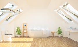 minimales geräumiges Badezimmer auf Dachboden lizenzfreie stockfotografie