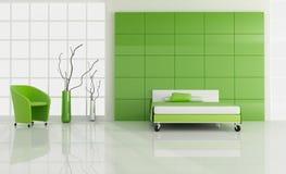 Minimales grünes Schlafzimmer Stockbild
