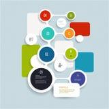 Minimales Infographics-Elementdesign Abstrakte Kreise und infographic Schablone der Quadrate mit Platz für Ihren Inhalt Lizenzfreies Stockbild