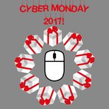 Minimales Rabattkonzept cyber-Montag-Vektors Stockbild