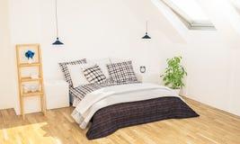 minimales Schlafzimmer auf Dachboden stockfotos