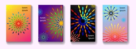 Minimales Vektorabdeckungsdesign Mandalaformen mit Steigung lizenzfreie stockbilder