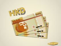 Minimales Vektorgrafikdesign des Hongkong-Dollar-Geldpapiers Stockfoto