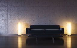 Minimalism: black couch and two lights by the wall Stock Image