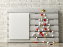 Minimalism Christmas tree on wooden palette Stock Images