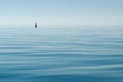 Minimalism: Een eenzaam zeil weg op een schoon meer stock afbeeldingen