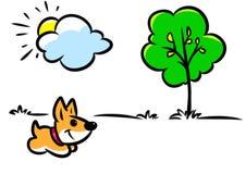Minimalism illustration dog walk nature joy stock illustration