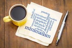 Minimalism l;ifestyle word cloud on napkin Royalty Free Stock Images