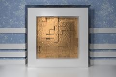 Minimalism, mock up poster, 3d illutration interior. White frame in a niche in the blue plastered wall filled with gold. Chaotic shifted boxes blocks stock illustration