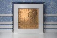 Minimalism, mock up poster, 3d illutration interior. White frame in a niche in the blue plastered wall filled with gold. Chaotic shifted boxes blocks vector illustration