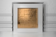 Minimalism, mock up poster, 3d illutration interior. White frame in a niche in the white plastered wall filled with. Golden chaotic shifted boxes blocks stock illustration