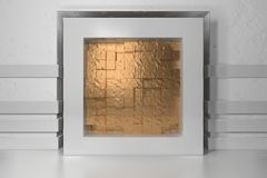 Minimalism, mock up poster, 3d illutration interior. White frame in a niche in the white plastered wall filled with. Golden chaotic shifted boxes blocks royalty free illustration