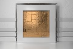 Minimalism, mock up poster, 3d illutration interior. White frame in a niche in the white plastered wall filled with. Golden chaotic shifted boxes blocks vector illustration