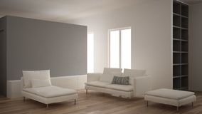 Minimalism, modern living room with gray plaster wall, sofa, chaise longue and pouf, parquet oak floor, white interior design. Minimalism, modern living room stock images