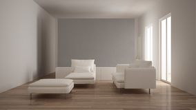 Minimalism, modern living room with gray plaster wall, sofa, chaise longue and pouf, parquet oak floor, white interior design. Minimalism, modern living room stock image