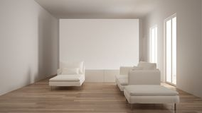 Minimalism, modern living room with white plaster wall, sofa, chaise longue and pouf, parquet oak floor, white interior design. Minimalism, modern living room stock image