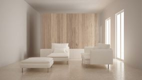 Minimalism, modern living room with wooden wall, sofa, chaise longue and pouf, travertine marble floor, white interior stock images