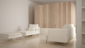 Minimalism, modern living room with wooden wall, sofa, chaise longue and pouf, travertine marble floor, white interior design. Minimalism, modern living room royalty free stock photo