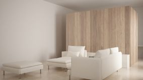 Minimalism, modern living room with wooden wall, sofa, chaise longue and pouf, travertine marble floor, white interior design. Minimalism, modern living room royalty free stock photography