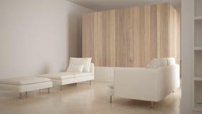 Minimalism, modern vardagsrum med träväggen, soffa, schäslong och puff, travertinemarmorgolv, vit inredesign royaltyfri foto