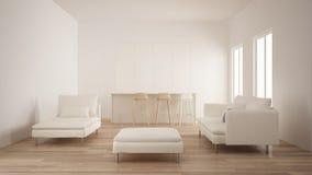 Minimalism, moderne lege ruimte met witte verborgen keuken met eiland, woonkamer, van de parketvloer, witte en houten binnenlands stock foto's