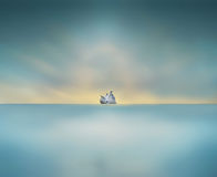 Minimalism pigeons sitting on big rock in the middle of sea Royalty Free Stock Photos