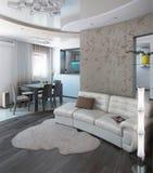 Minimalism sitting room, 3D render Stock Images