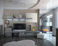 Minimalism sitting room, 3D render. Living spaces functional partitioning, welldefined through decoration accents combined with color shades and elegant rounded Royalty Free Stock Image