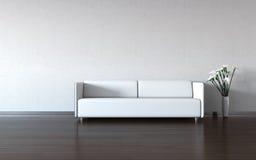 Minimalism: sofá y florero blancos por la pared