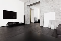 Minimalism style drawing-room interior Royalty Free Stock Photo