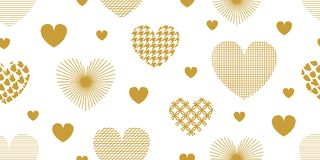 Minimalism style festive background with golden hearts, ornaments and decorations. Seamless vector pattern for Valentines Day cards, birthday invitations Royalty Free Stock Image