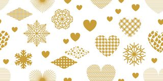 Minimalism style festive background with golden hearts, ornaments and decorations. Seamless vector pattern for Valentines Day cards, birthday invitations Royalty Free Stock Photo