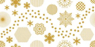 Minimalism style festive Christmas background. Seamless victor pattern with geometric motifs. Snowflakes, stars and circles with different ornaments. Retro Royalty Free Stock Images