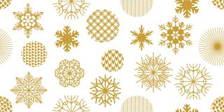 Minimalism style festive Christmas background. Seamless victor pattern with geometric motifs. Snowflakes, stars and circles with different ornaments. Retro Stock Image