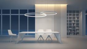 Minimalism style interior of dining room vector illustration