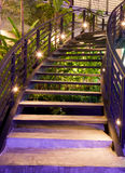 Minimalism style stairs with night lighting. In garden Stock Photo