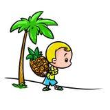 Minimalismo de la historieta de las zonas tropicales de la piña del hombre del carácter Foto de archivo libre de regalías
