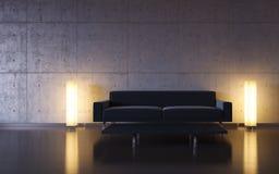 Minimalismus: schwarze Couch und zwei Leuchten durch die Wand lizenzfreie abbildung