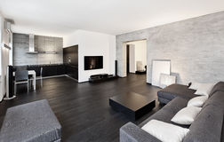 Minimalismusart Drawing-roominnenraum im Schwarzen Lizenzfreie Stockbilder