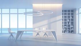 Minimalismusartinnenraum des Esszimmers Stockfoto